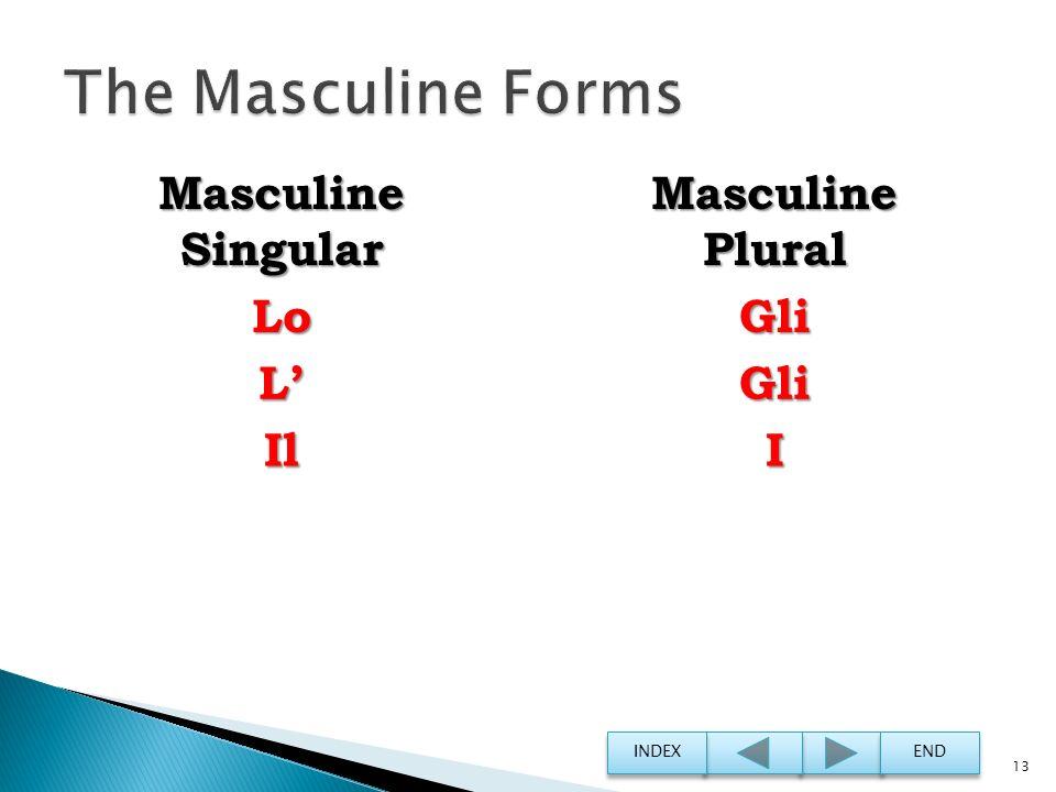 The Masculine Forms Masculine Singular Masculine Plural Lo Gli L' Il I