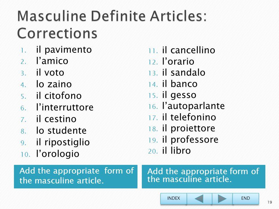 Masculine Definite Articles: Corrections