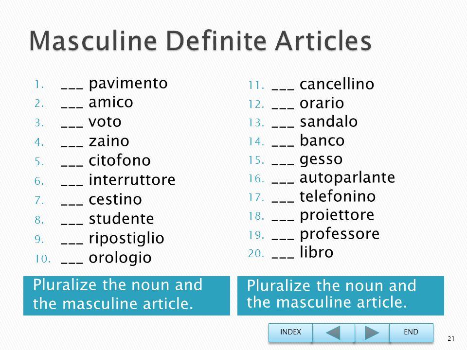 Masculine Definite Articles