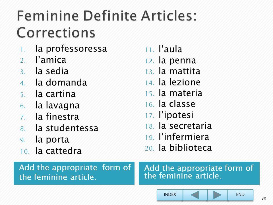 Feminine Definite Articles: Corrections