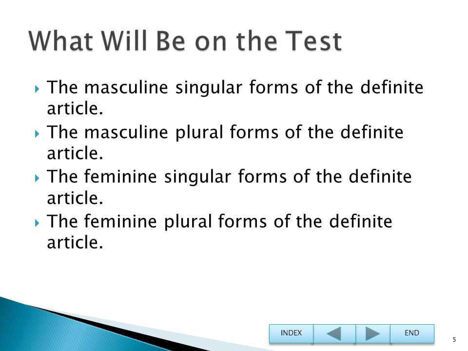 What Will Be on the Test The masculine singular forms of the definite article. The masculine plural forms of the definite article.