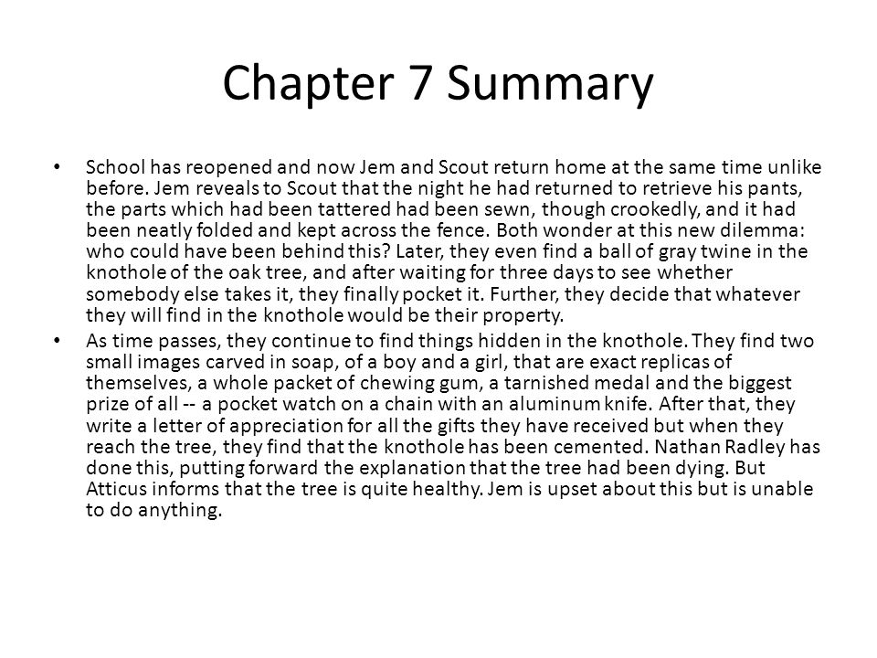 to kill a mockingbird chapters notes ppt video online  chapter 7 summary
