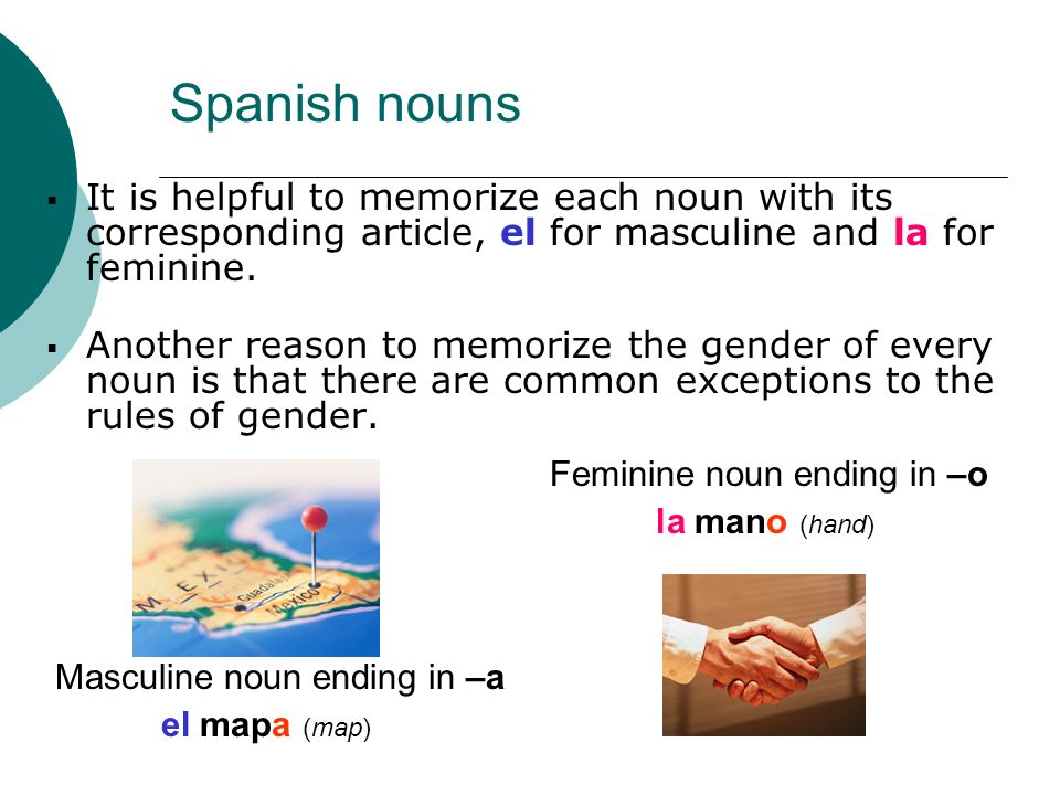 Spanish nounsIt is helpful to memorize each noun with its corresponding article, el for masculine and la for feminine.