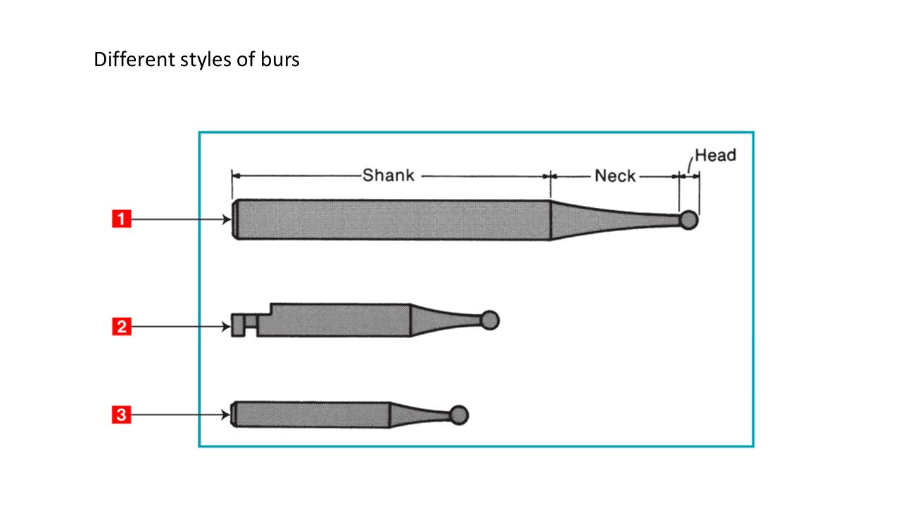 Different styles of burs