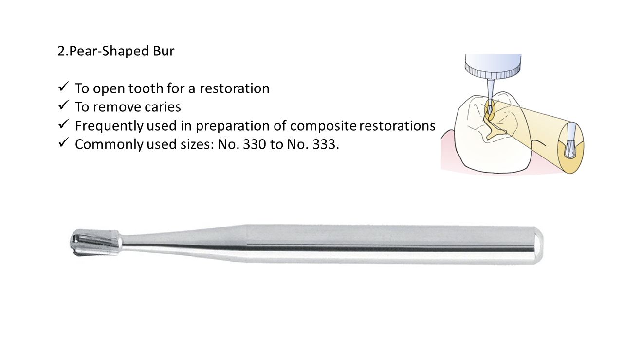 2.Pear-Shaped Bur To open tooth for a restoration. To remove caries. Frequently used in preparation of composite restorations.