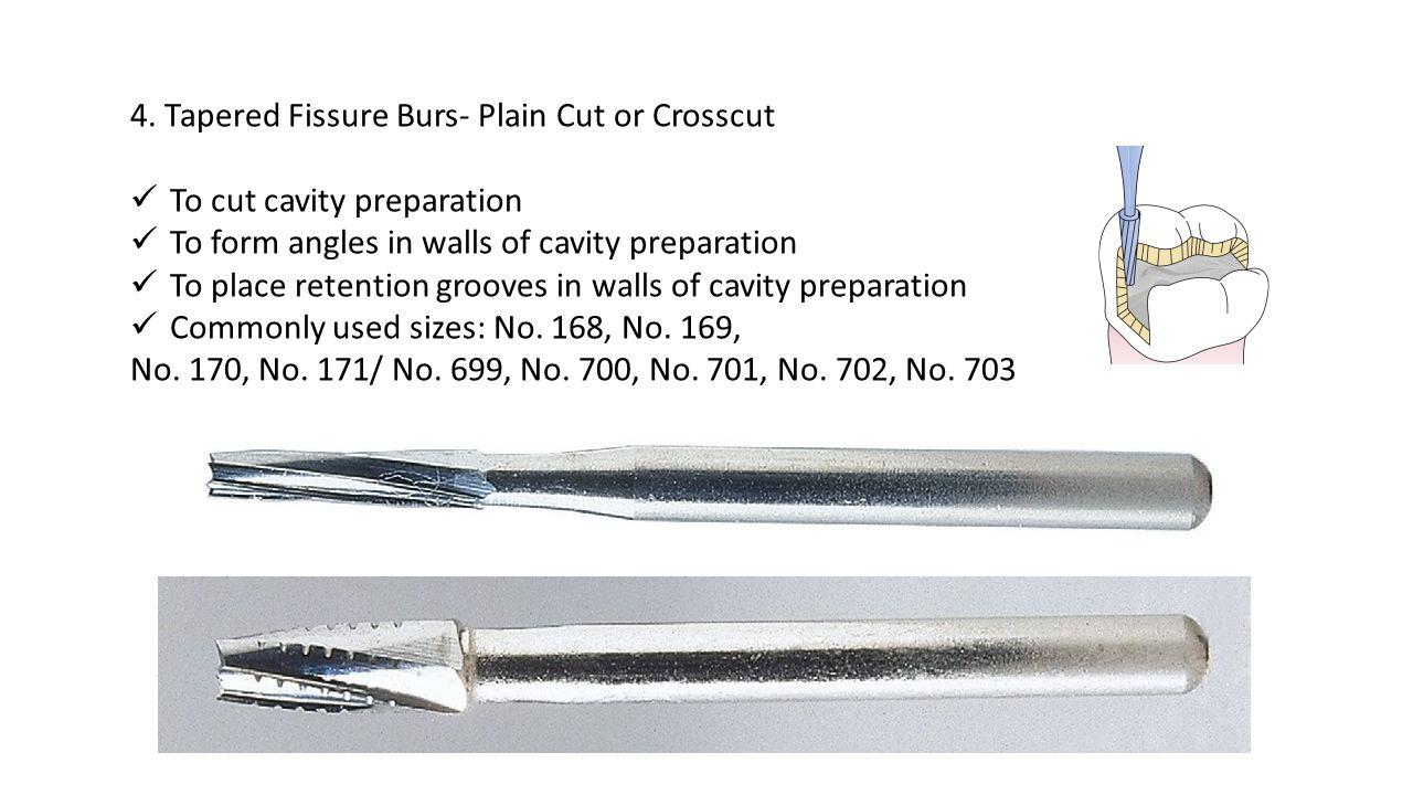 4. Tapered Fissure Burs- Plain Cut or Crosscut
