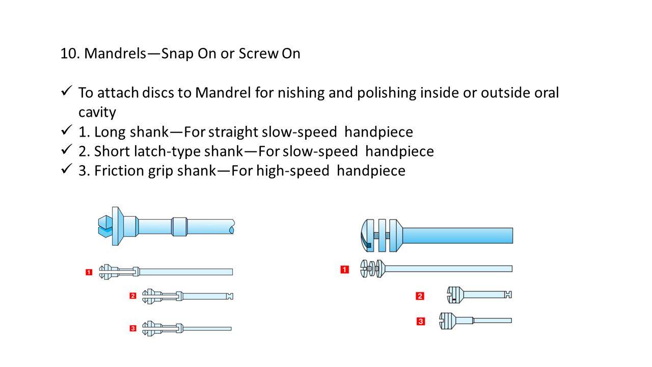 10. Mandrels—Snap On or Screw On