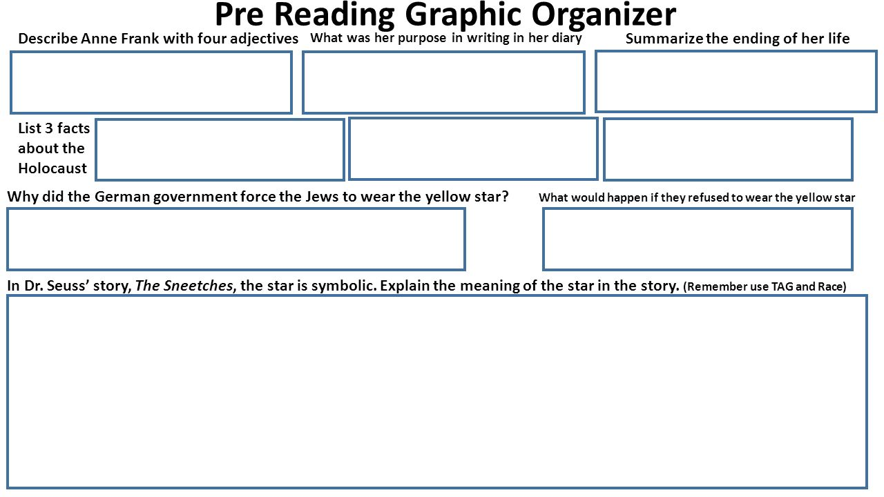 Hidden like anne frank ppt video online download 5 pre reading graphic organizer sciox Choice Image