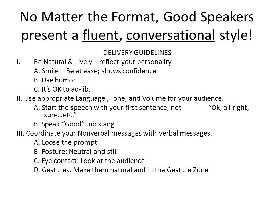 Speech Format Tips On Speech Writing And Delivery Good Speech