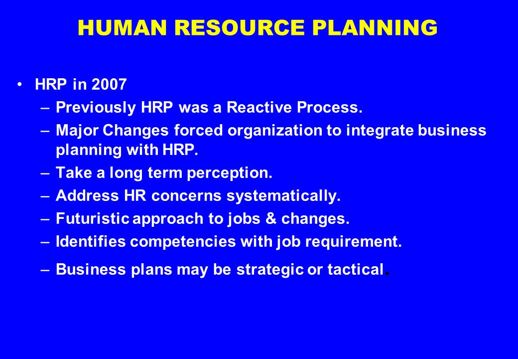 human resource planning process in an organization pdf
