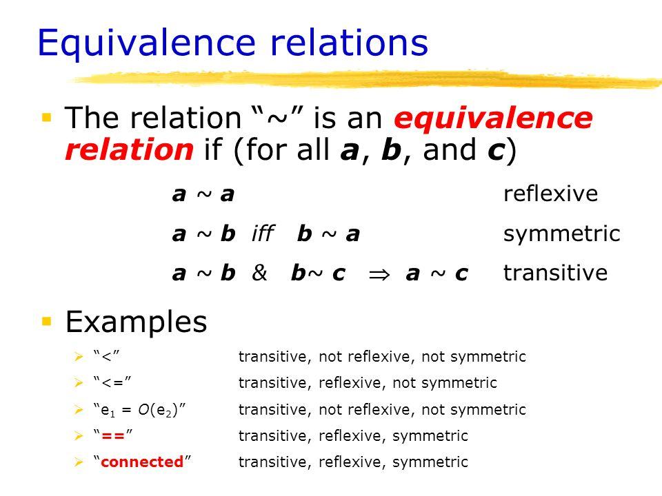 reflexive symmetric transitive and equivalence relationship