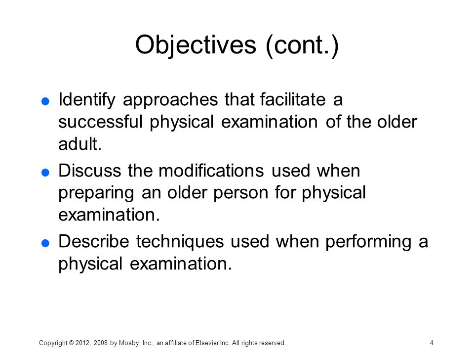 Physical examination older adults