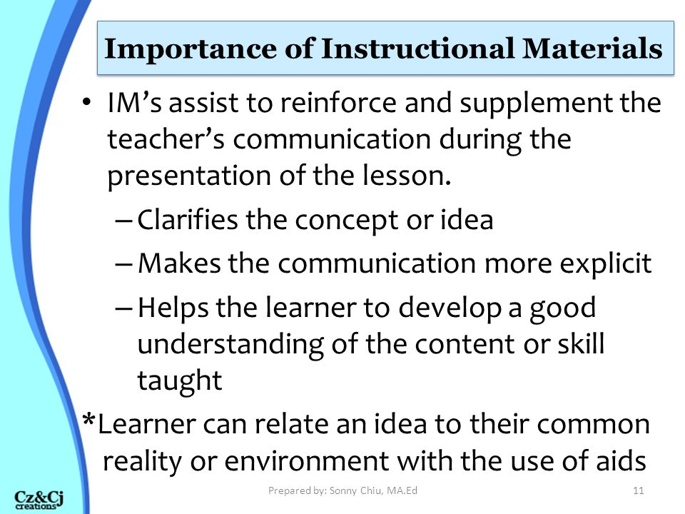 Importance of Instructional Materials