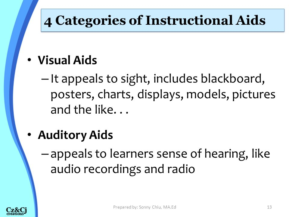 4 Categories of Instructional Aids