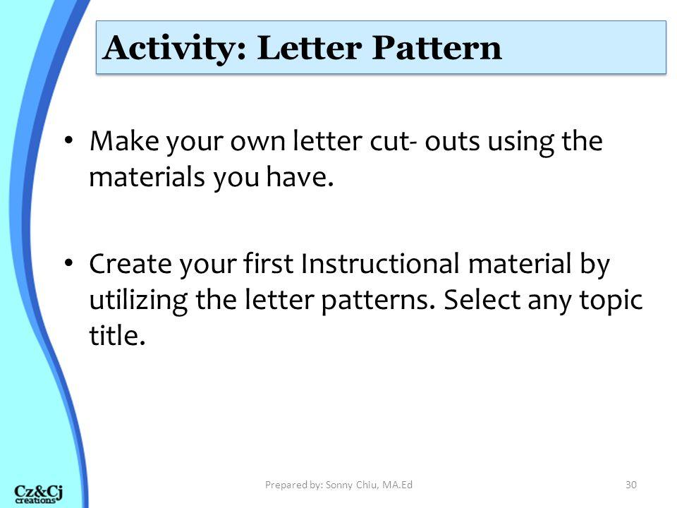 Activity: Letter Pattern