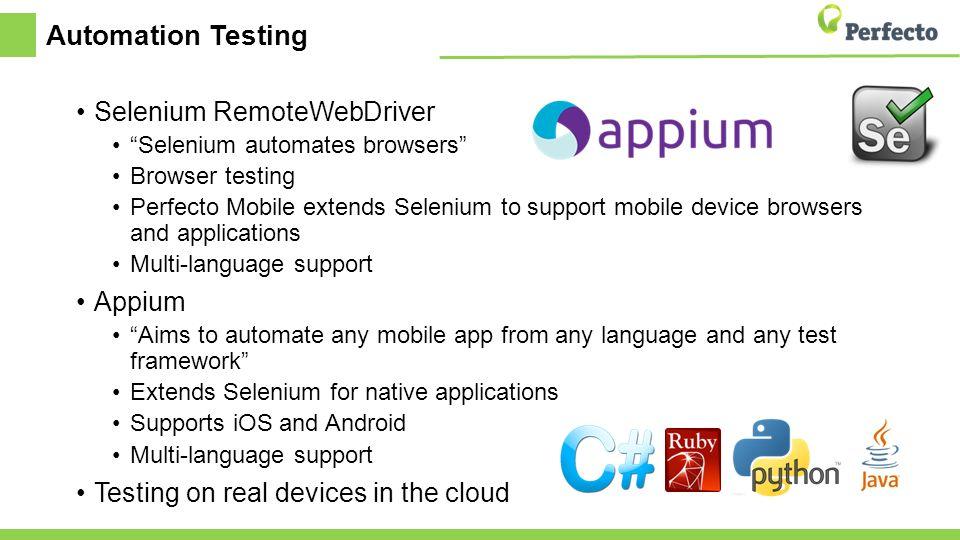 Perfecto S Cq Lab Using Selenium Remotewebdriver Amp Appium
