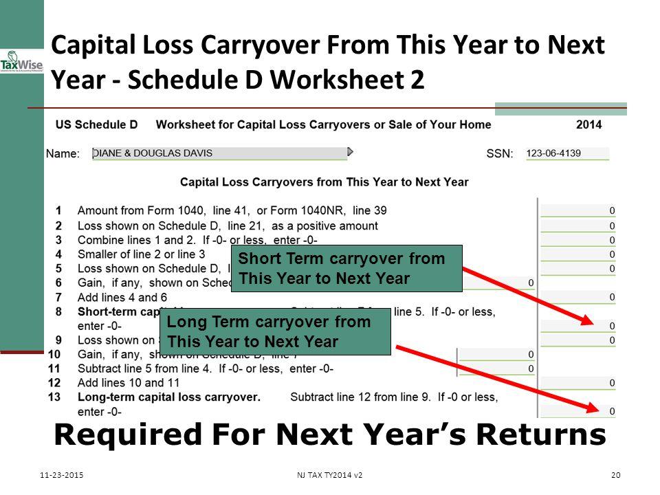 Capital loss carryover worksheet 2013