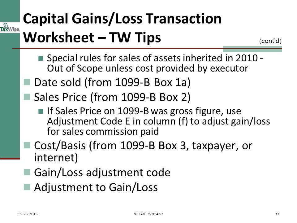 Capital Gains Losses Including Sale of Home ppt download – 1099 Worksheet