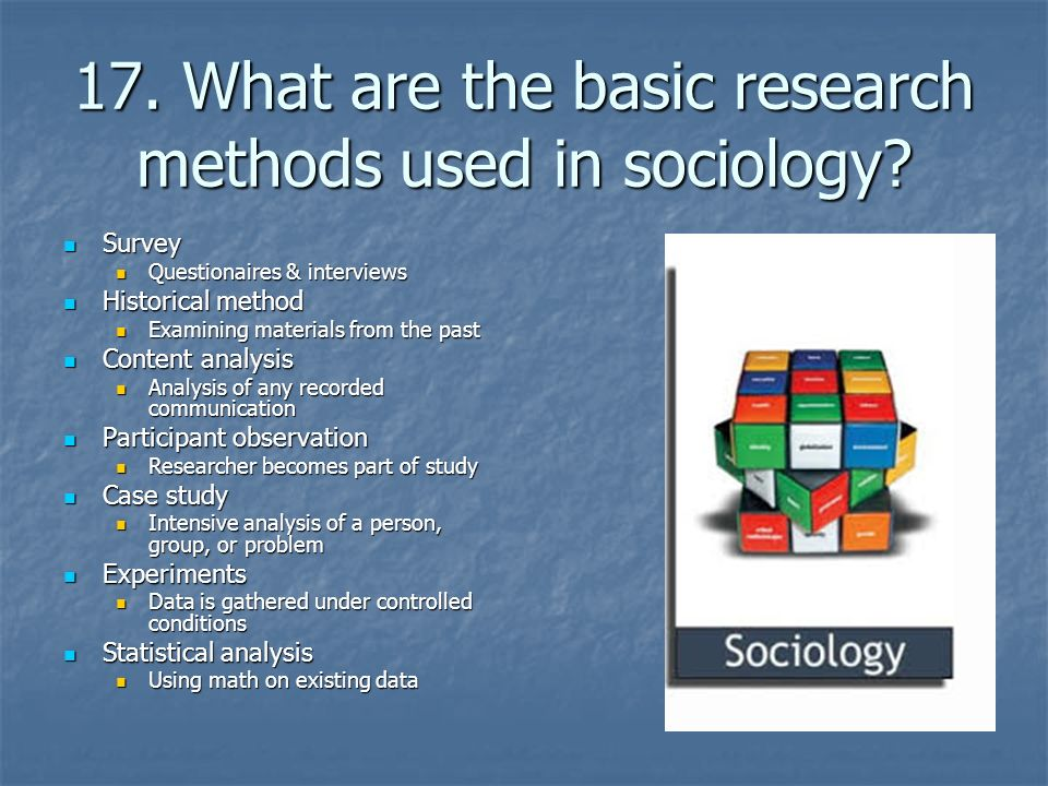 types of research methods in sociology Observational research, also called field research, is a staple of sociology sociologists have long gone into the field to observe people and social settings, and the result has been many rich descriptions and analyses of behavior in juvenile gangs, bars, urban street corners, and even whole communities.