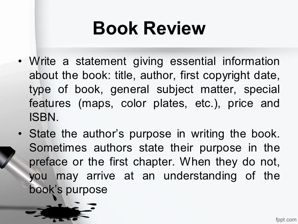 how to write a chapter book review