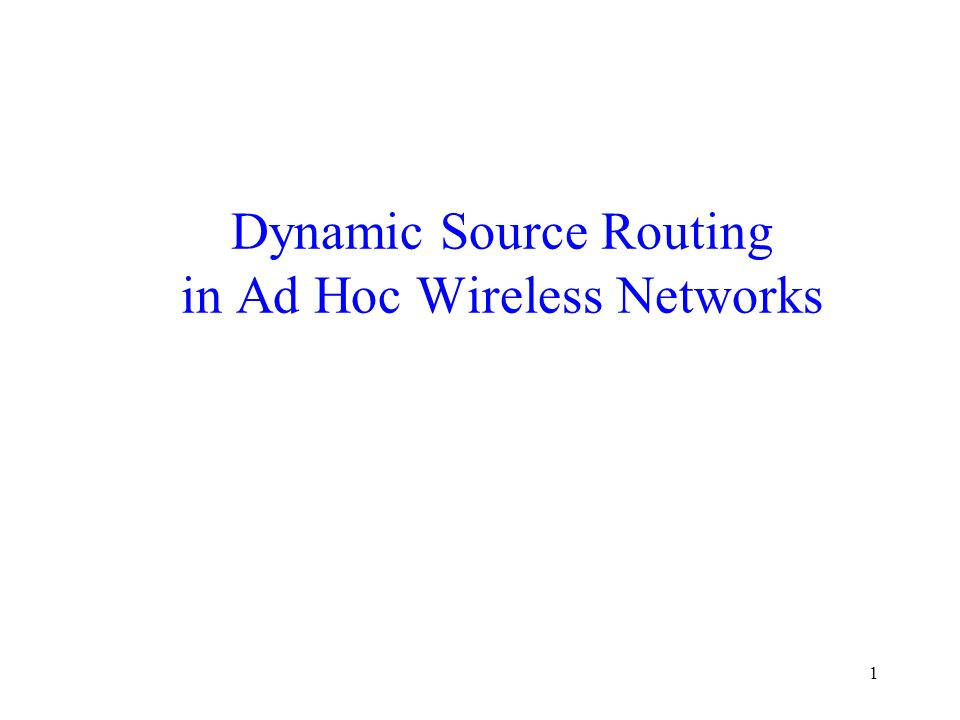 dynamic source routing Dynamic source routing (dsr) is a routing protocol for wireless mesh networks it is similar to aodv in that it forms a route on-demand when a transmitting computer requests one however, it uses source routing instead of relying on the routing table at each intermediate device.