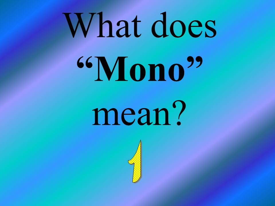 What does Mono mean 1