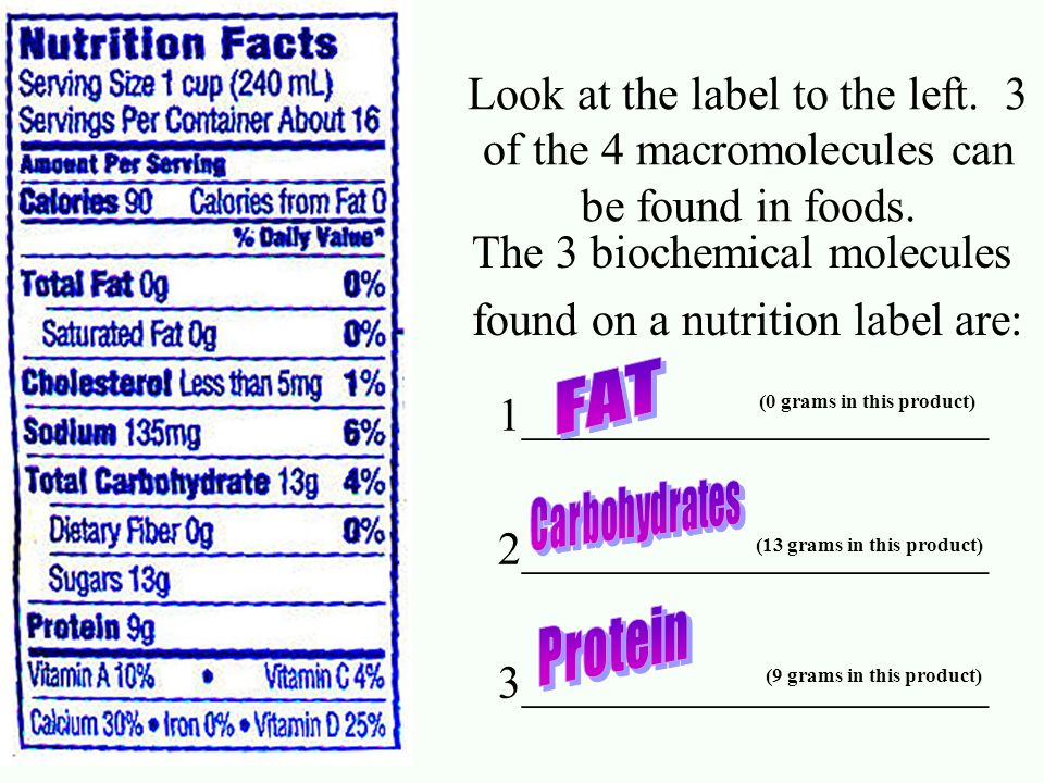 The 3 biochemical molecules found on a nutrition label are: