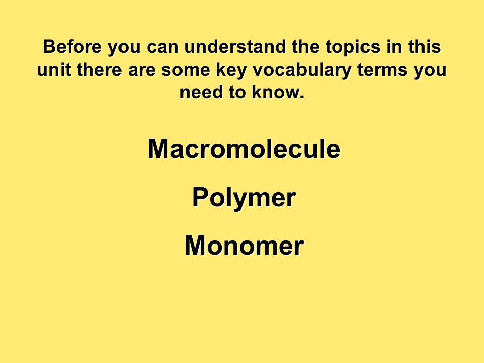 Macromolecule Polymer Monomer