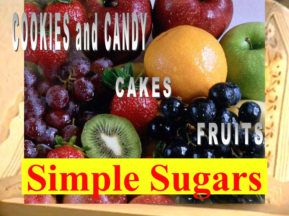 COOKIES and CANDY CAKES FRUITS Simple Sugars