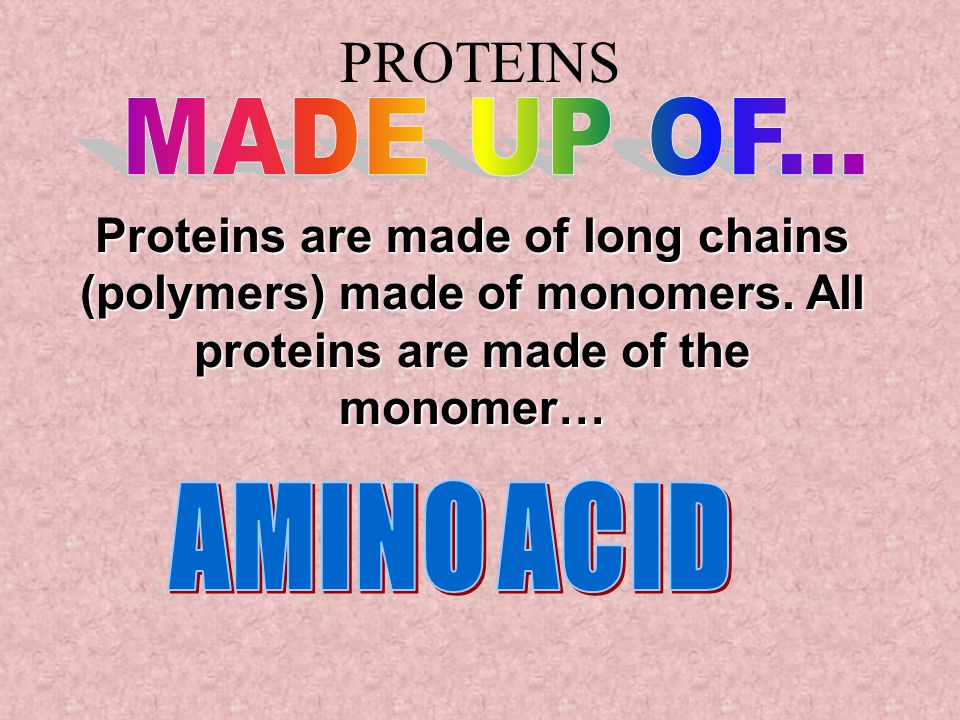 PROTEINS MADE UP OF... Proteins are made of long chains (polymers) made of monomers. All proteins are made of the monomer…