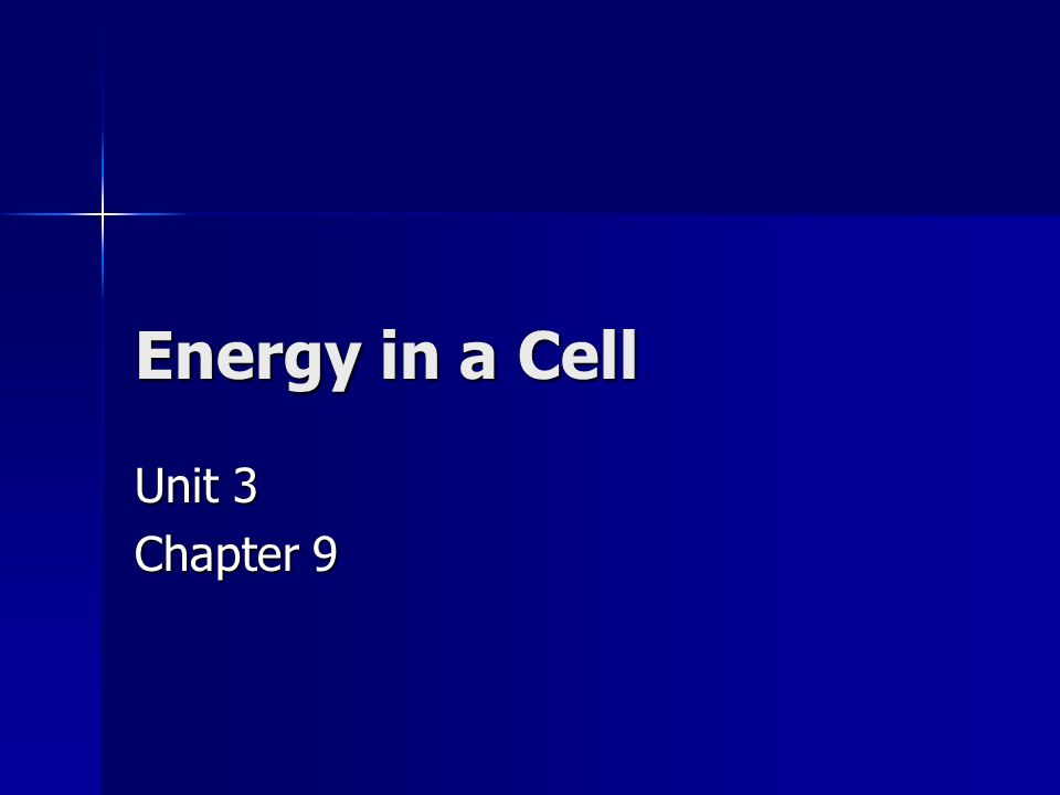1 Energy In A Cell Unit 3 Chapter 9