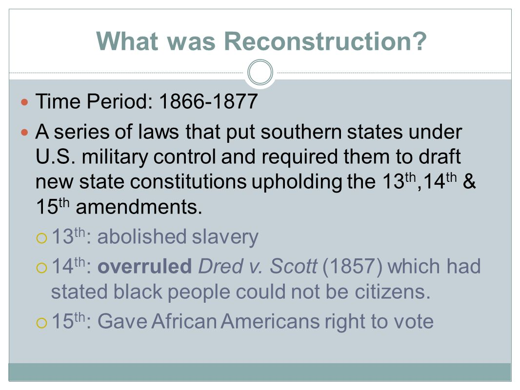 Reconstruction Period - ppt download
