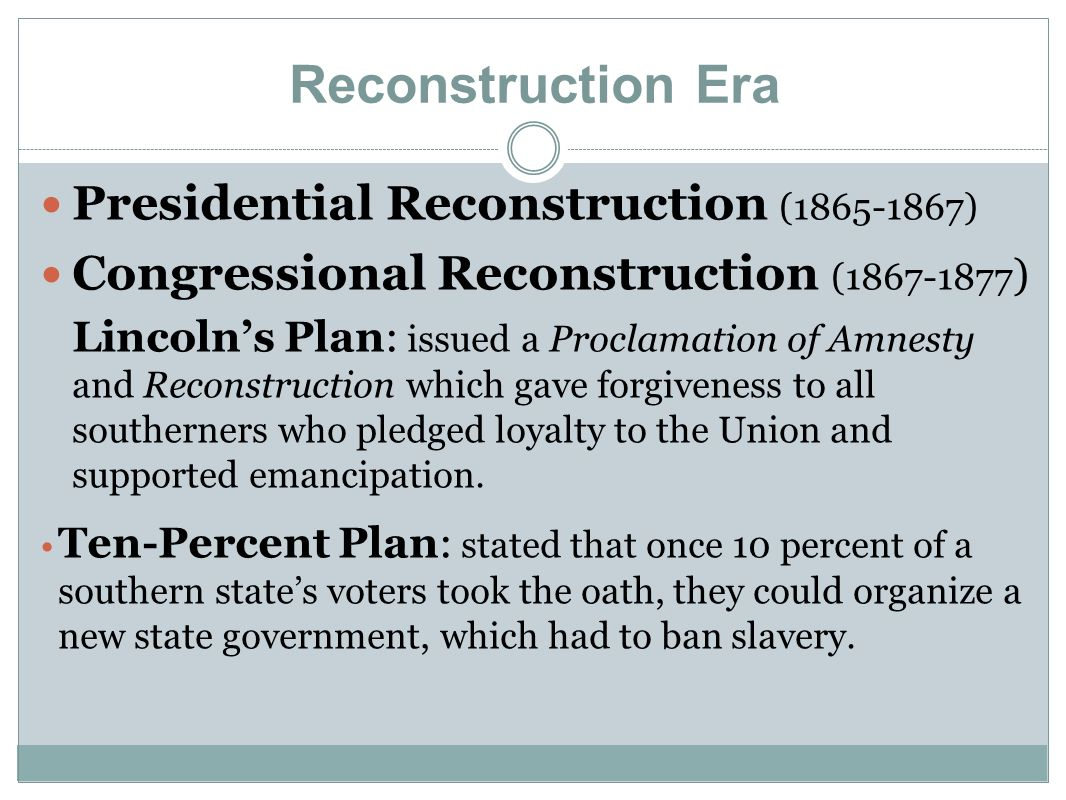 Reconstruction Period Ppt Download