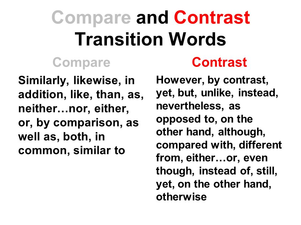 compare and contrast transition words