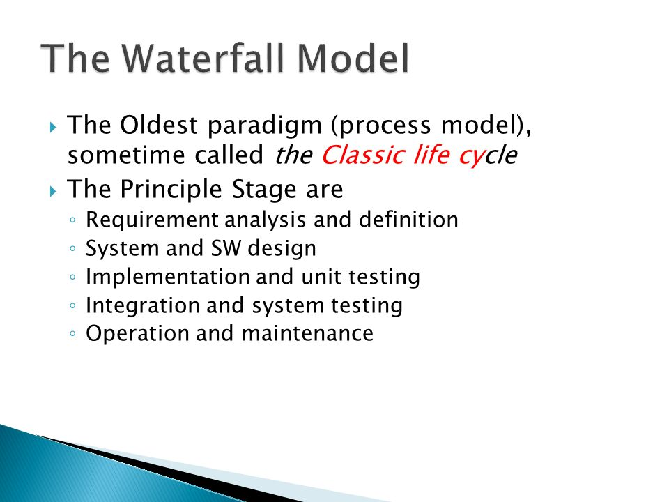 Software model process ppt video online download for Waterfall methodology definition