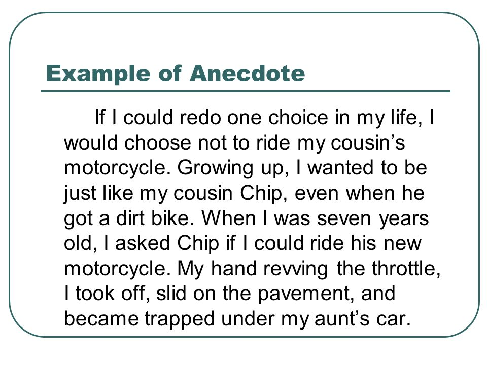 how to write an anecdote in an essay Use this definition and tips to learn how anecdotes can be a useful tool to use  when writing a speech or a personal essay.