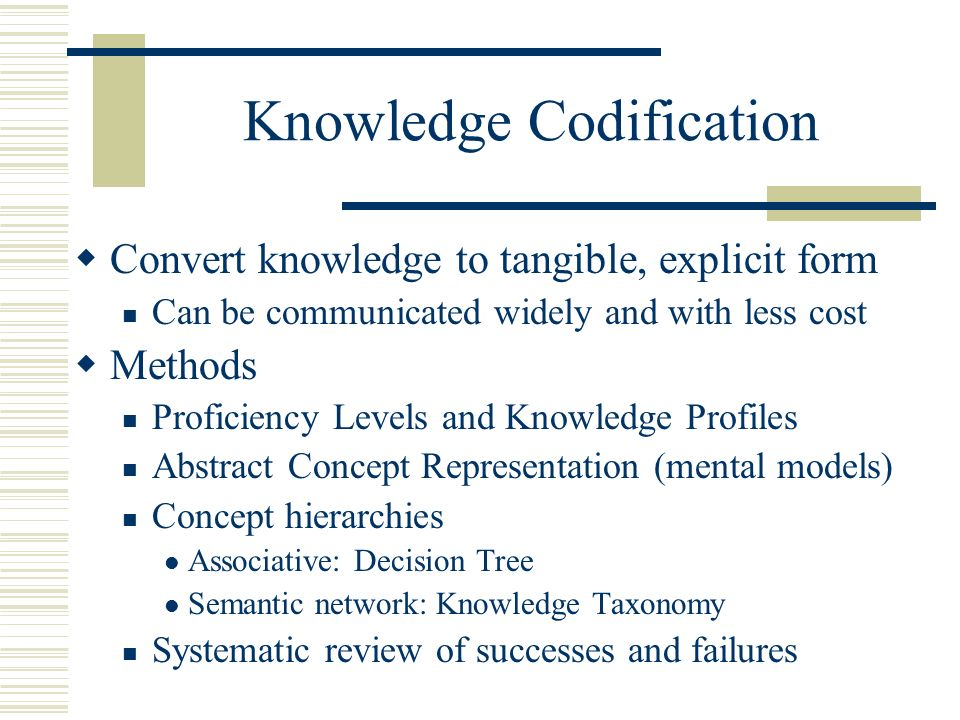 knowledge codification Abstract this paper attempts a greater precision and clarity of understanding  concerning the nature and economic significance of knowledge.