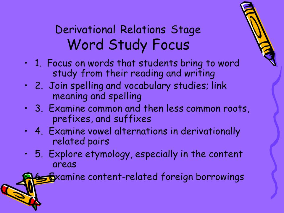 words their way derivational stage