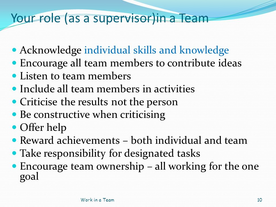 Your role (as a supervisor)in a Team