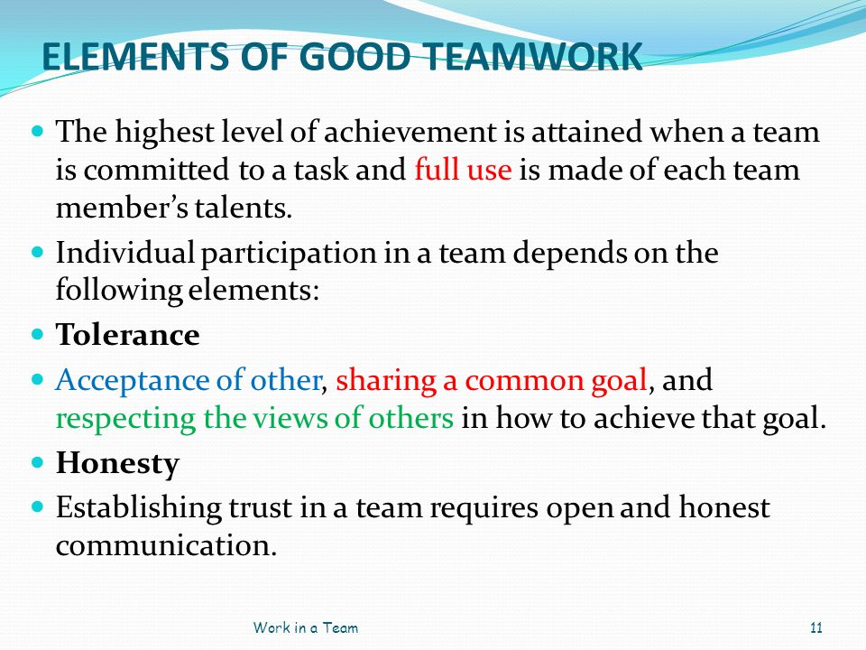 ELEMENTS OF GOOD TEAMWORK