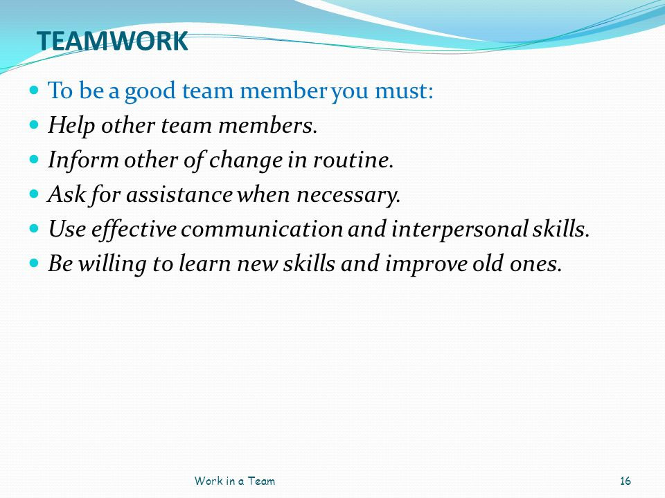 TEAMWORK To be a good team member you must: Help other team members.