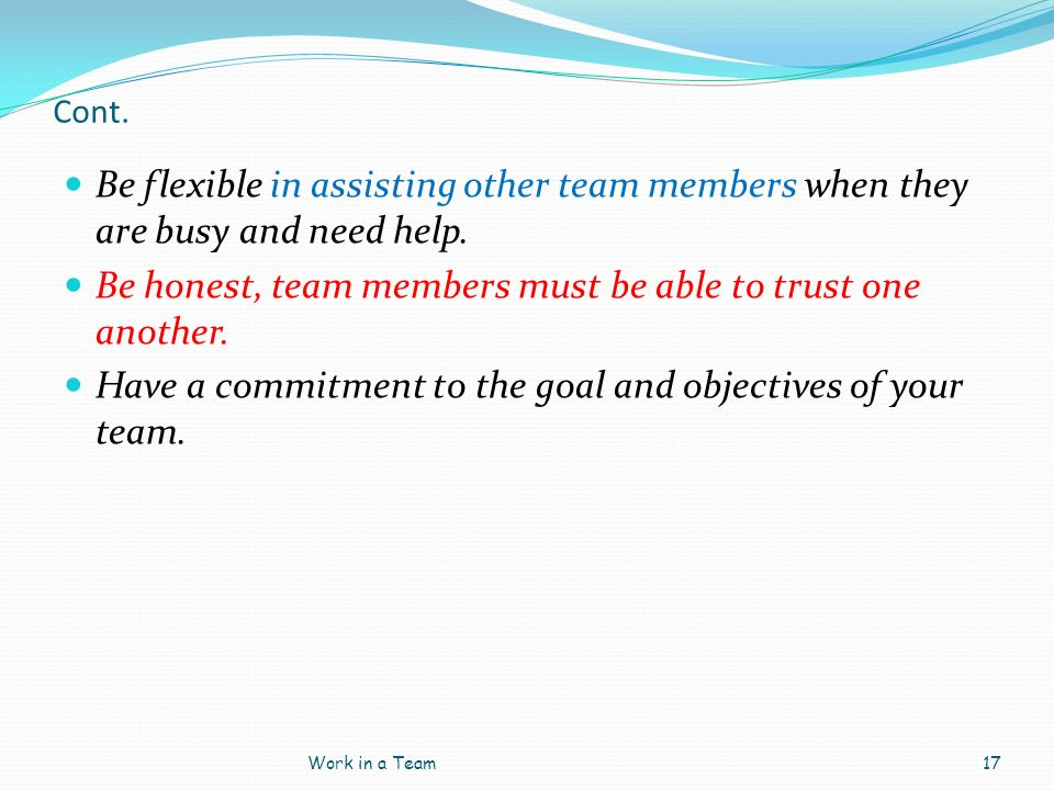 Be honest, team members must be able to trust one another.