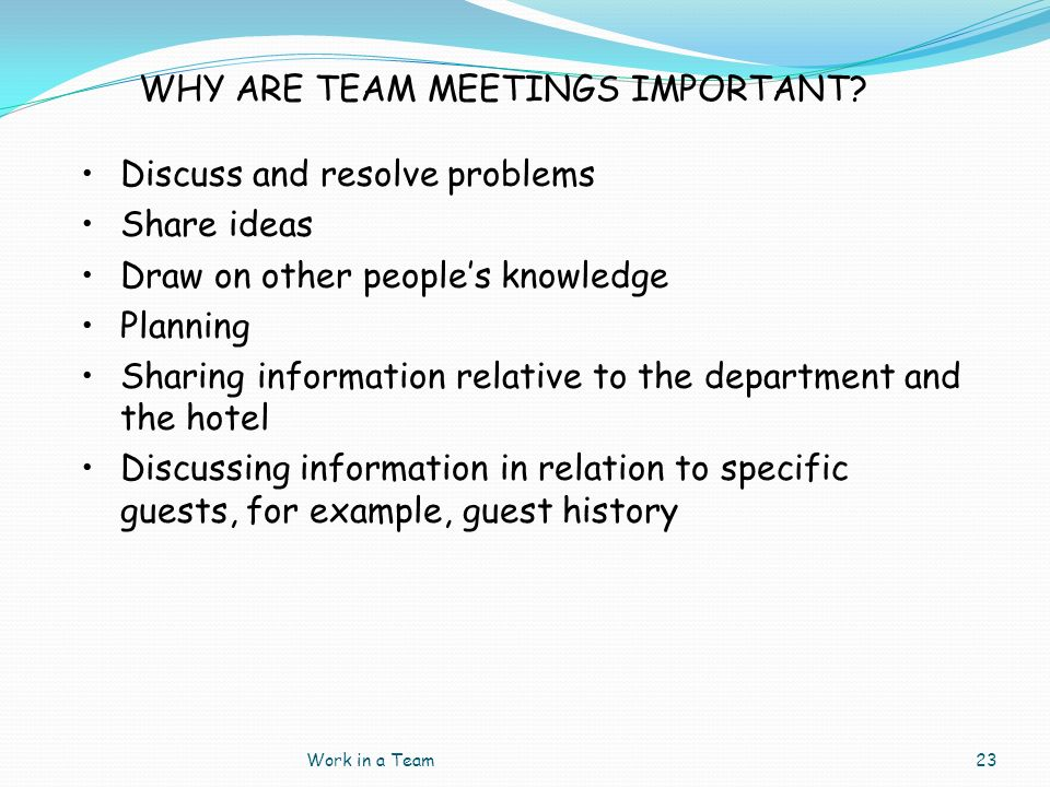 WHY ARE TEAM MEETINGS IMPORTANT