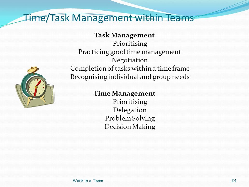 Time/Task Management within Teams