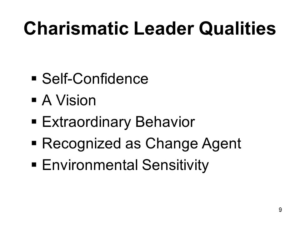 charismatic leadership characteristics Understanding max weber's charismatic leadership nesrine bouguerra january 29, 2013 politics charismatic leadership, according to weber, is found in a leader with extraordinary characteristics of individual, whose mission and vision inspire others.