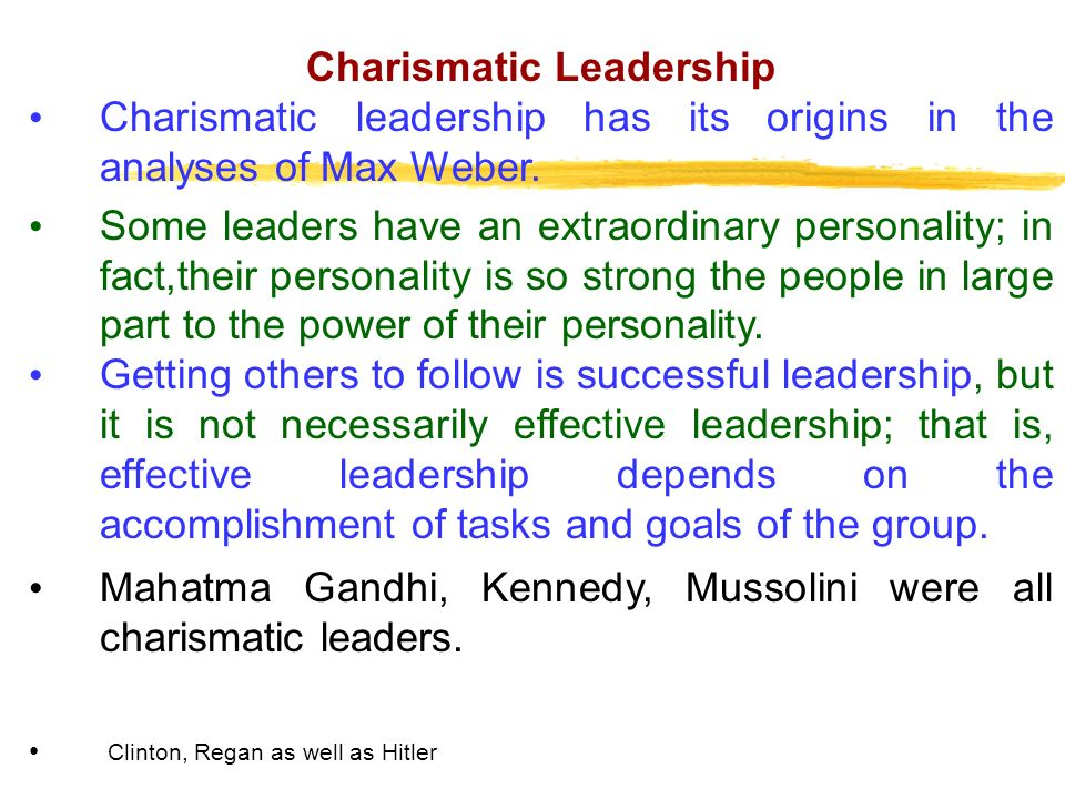 charismatic leadership characteristics ppt Examples of charismatic leadership charismatic leaders are from all walks of life common characteristics of leaders with charisma identified by jay alden.