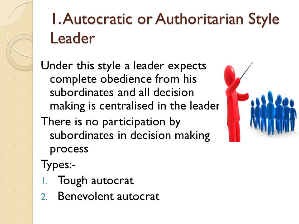 1. Autocratic or Authoritarian Style Leader