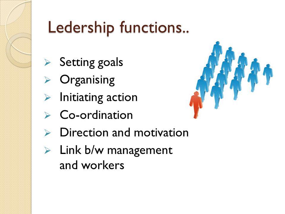 Ledership functions.. Setting goals Organising Initiating action