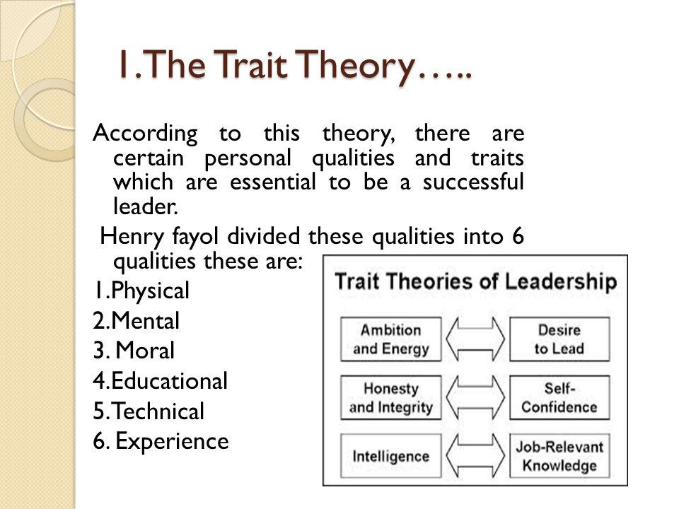 1.The Trait Theory…..