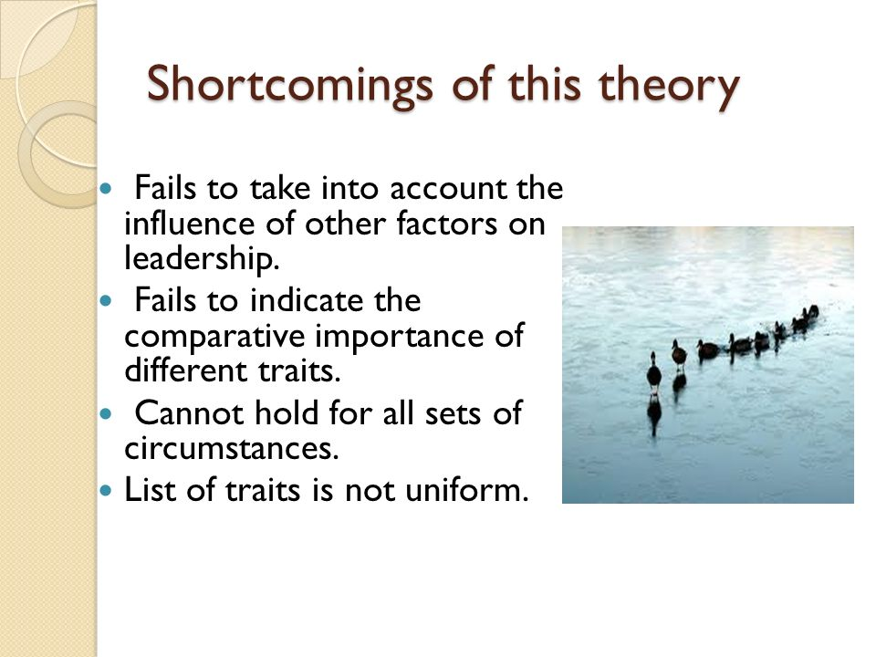 Shortcomings of this theory